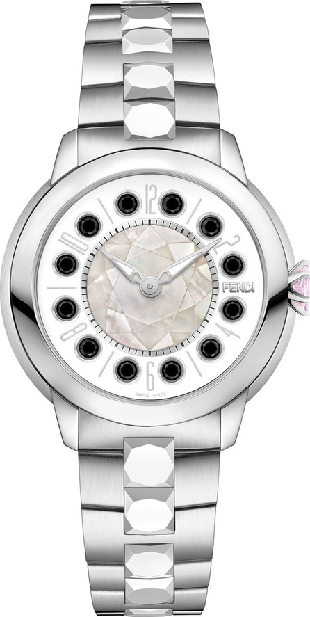Fendi 38mm IShine Stainless Steel Bracelet Watch w/Pink Topaz & Black Spinel