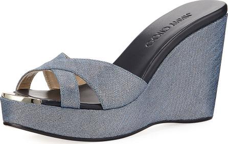 Jimmy Choo Pandora Metallic Denim Wedge Sandal
