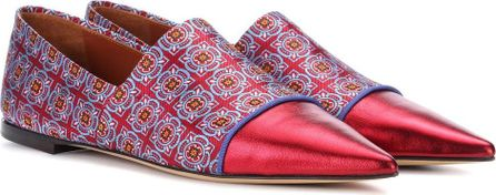 Etro Leather-trimmed jacquard ballerinas