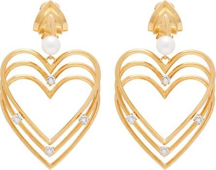 Balenciaga Crystal and pearl heart clip-on earrings