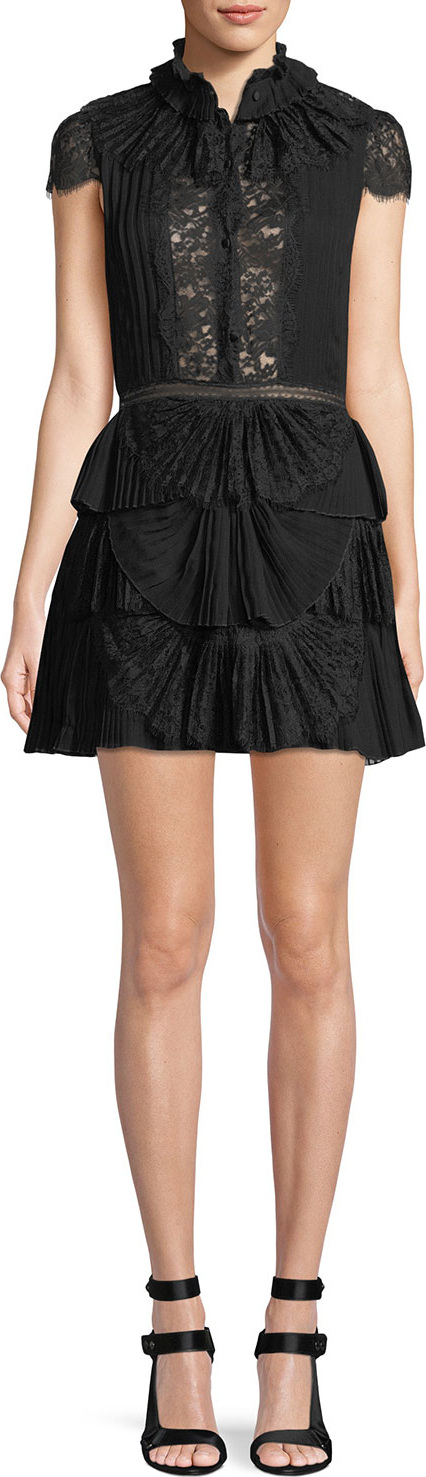 Alice + Olivia - Rosetta High-Neck Cap-Sleeve Tiered Lace Cocktail Dress