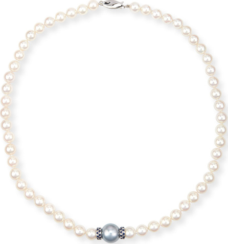 Belpearl Aura 18K White Gold Pearl & Blue Sapphire Necklace