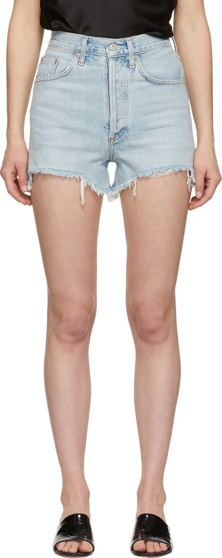 Agolde Blue Denim Dee Close Fit Shorts