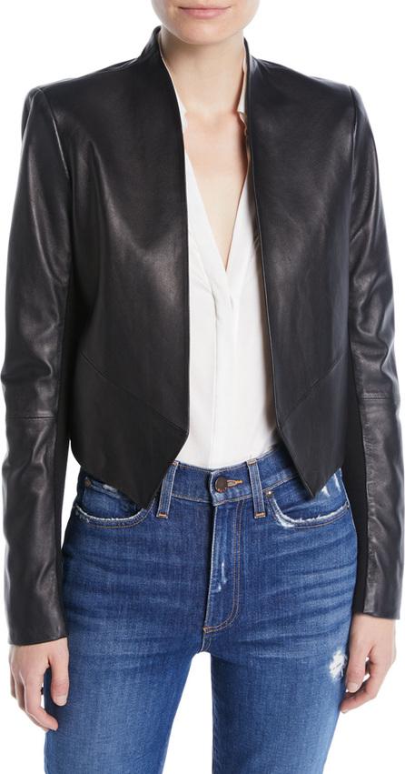 Alice + Olivia Harvey Draped Open-Front Leather Jacket