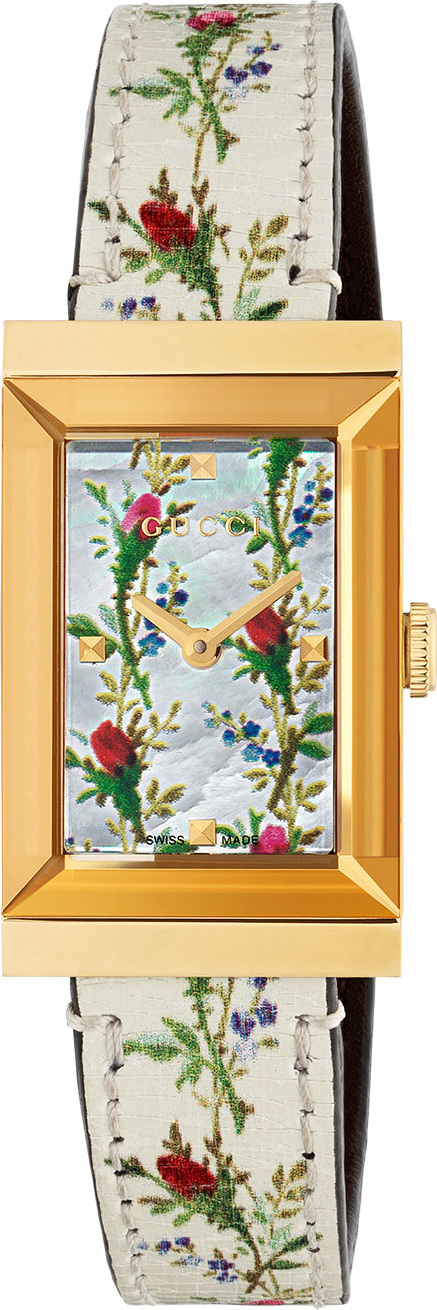 Gucci G-Frame Rectangular Floral-Print Watch w/ Leather Strap