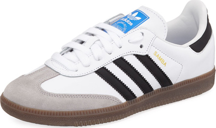 Adidas Samba Original Leather/Suede Sneaker, White/Black/Granite