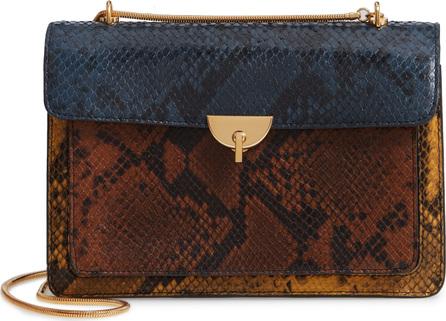 Dries Van Noten Croc Embossed Leather Shoulder Bag