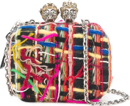 Alexander McQueen Queen and King skull box clutch