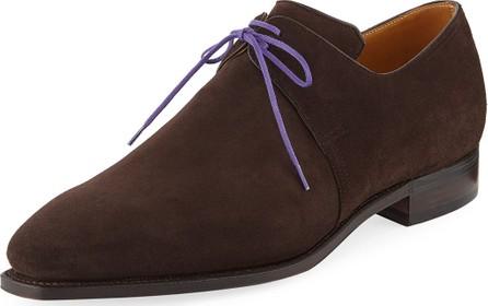 Corthay Arca Suede Lace-Up Shoe, Dark Brown