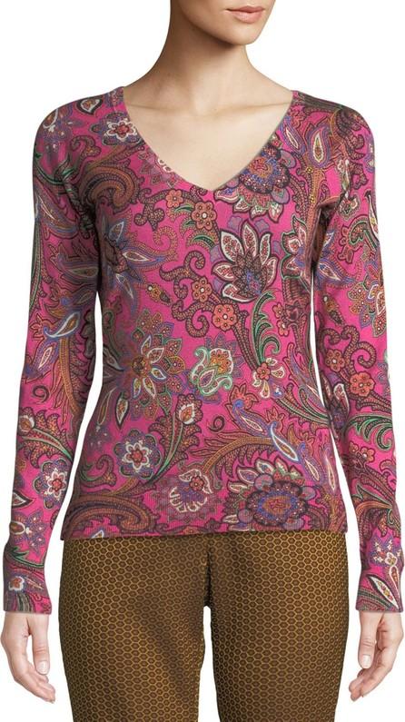 Etro V-Neck Long-Sleeve Paisley-Print Silk-Cashmere Sweater