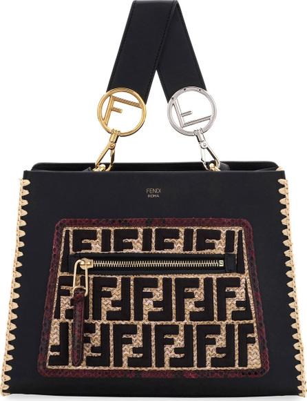 Fendi Runaway Leather & FF Raffia Shoulder Bag