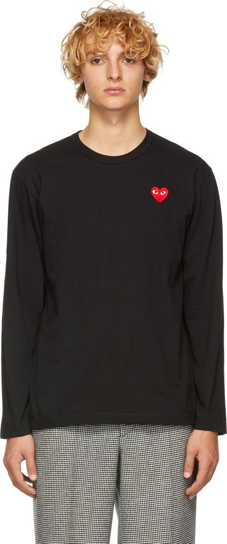 Comme Des Garcons PLAY Black & Red Heart Patch Long Sleeve T-Shirt