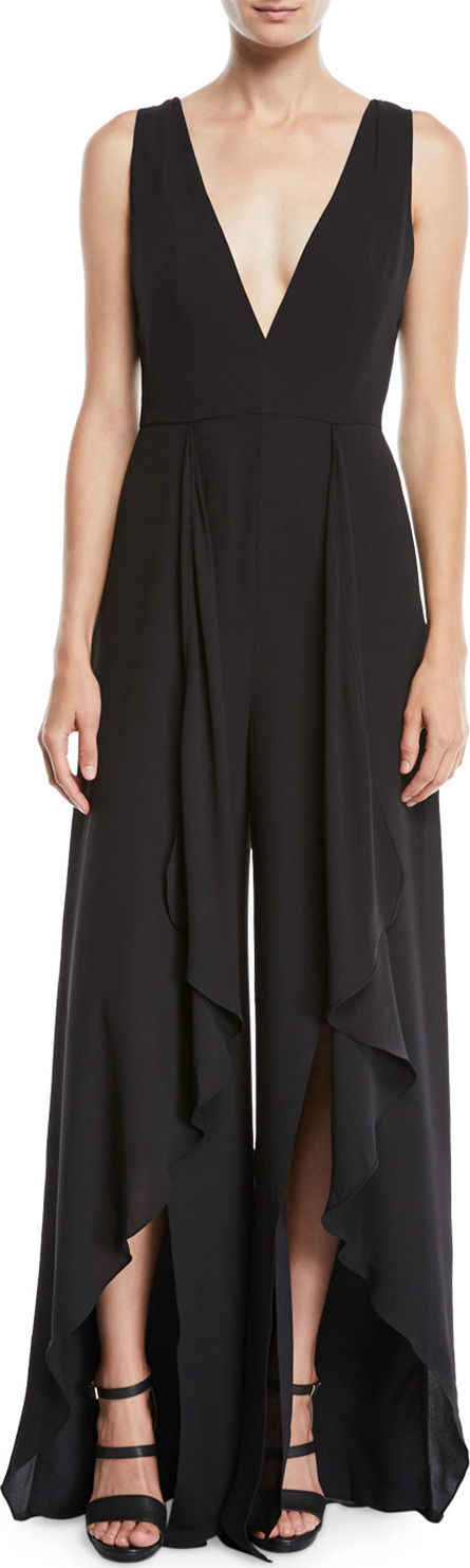 HALSTON HERITAGE Flowy Jumpsuit w/ Draped Front