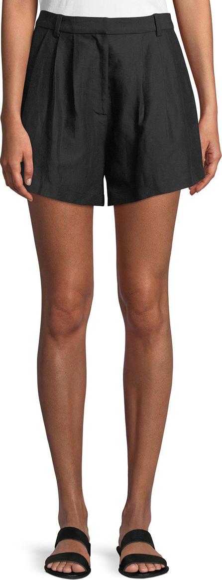 FRAME DENIM Oversized Pleated Linen-Blend Shorts