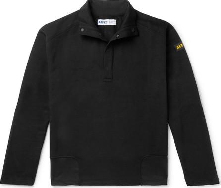 Affix Logo-Appliquéd Fleece-Back Jersey Half-Placket Sweatshirt