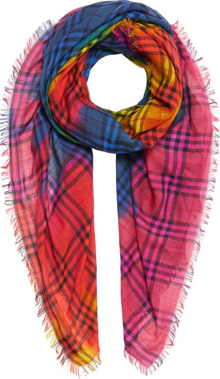 Burberry London England Rainbow Tie Dye Vintage Check Wool & Silk Scarf