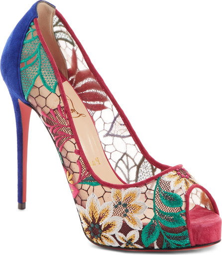 Christian Louboutin Very Lace Floral Peep Toe Pump