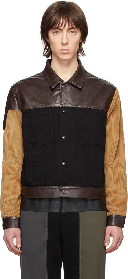 GR-Uniforma Black & Brown Faux-Leather Denim Jacket