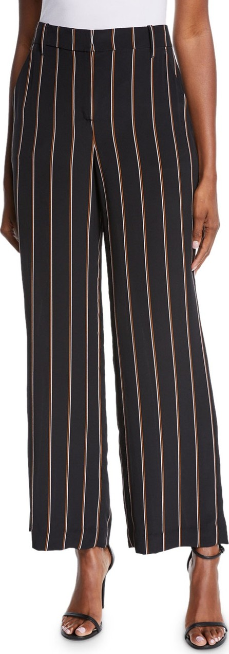 A.L.C. Erso Striped Silk Straight-Leg Pants