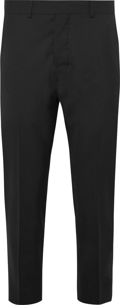 AMI Black Cropped Wool Suit Trousers
