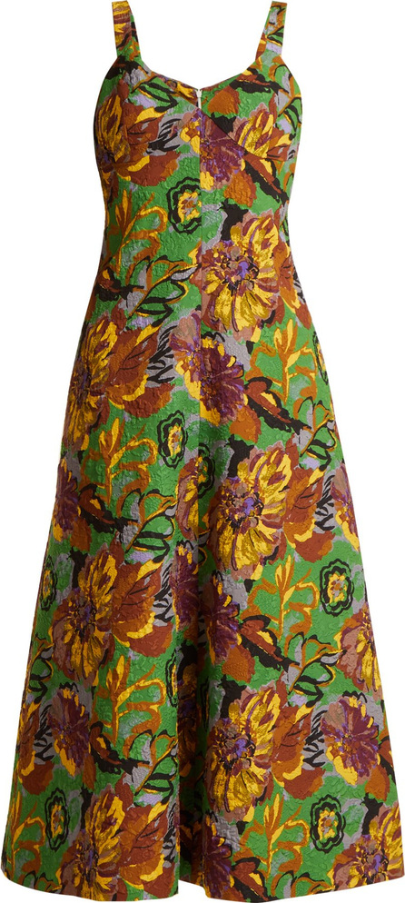 Duro Olowu Floral-print V-neck textured-cloqué dress