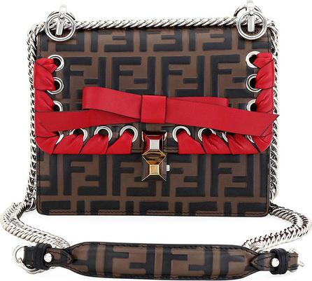 Fendi Kan I Small FF Embossed Shoulder Bag with Ribbon