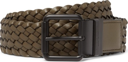 Bottega Veneta 4cm Army-Green Intrecciato Leather Belt