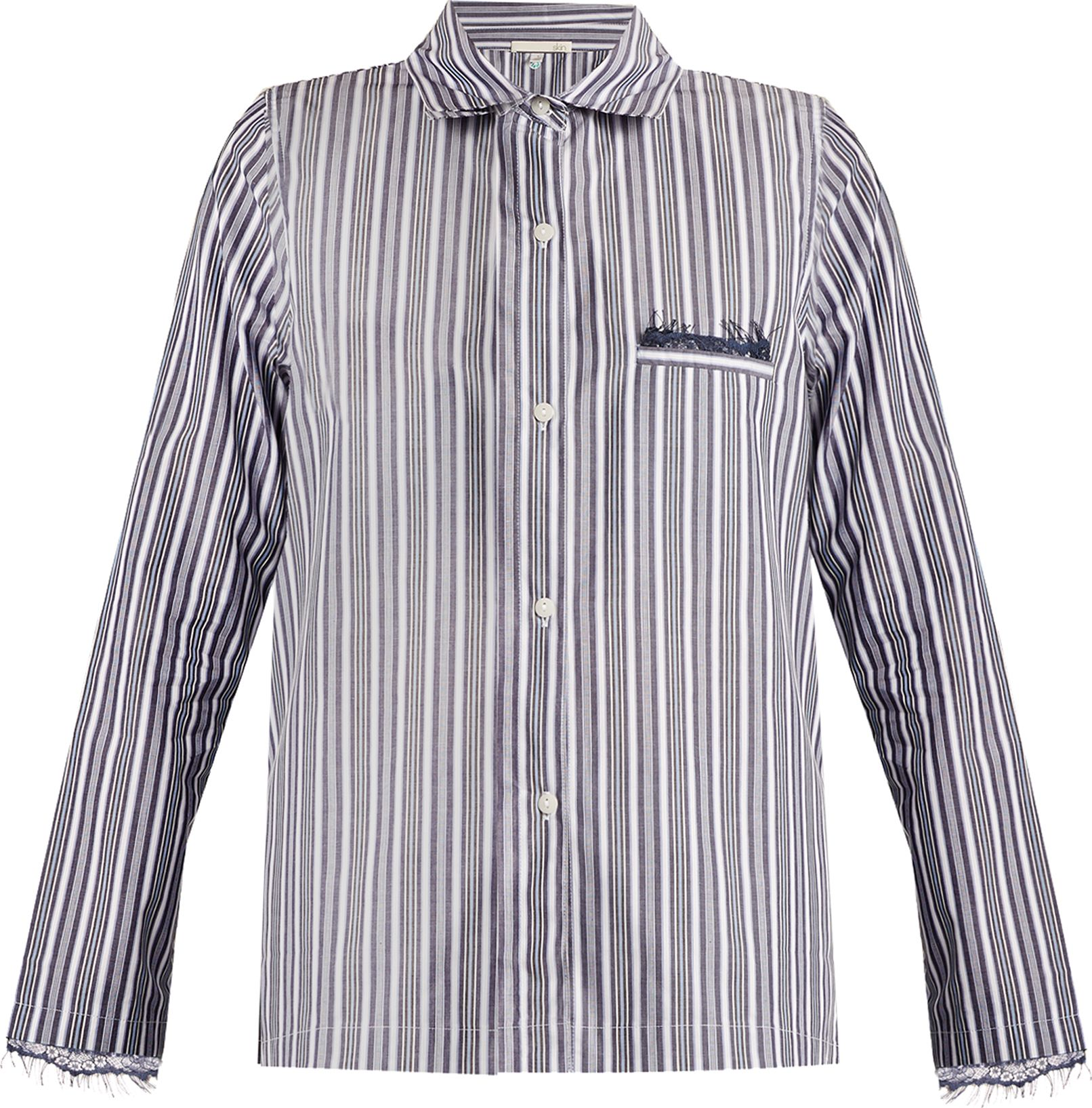 SKIN - Lace-trimmed striped-cotton pyjama shirt