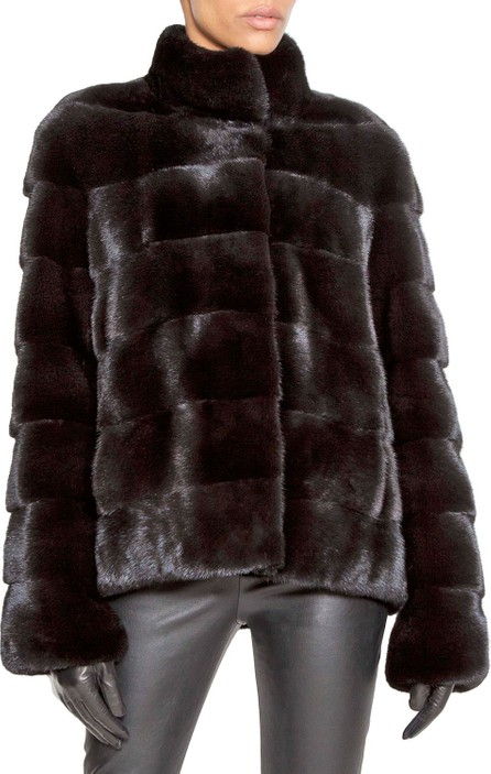 Norman Ambrose Horizontal-Quilted Mink Fur Swing Jacket