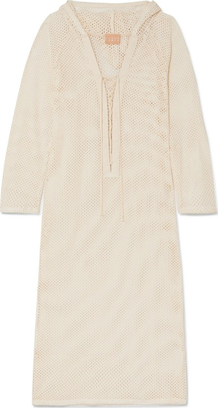 Albus Lumen Aziza crocheted cotton hooded kaftan