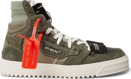 Off White Off-Court Leather and Suede High-Top Sneakers