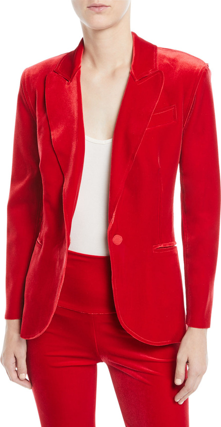 Norma Kamali Velvet Single-Breasted Jacket, Tango
