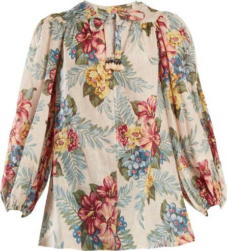 Zimmermann Kali floral-print linen shirt