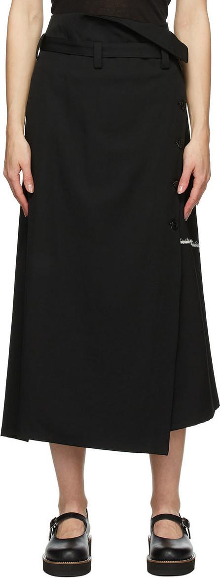 Y's By Yohji Yamamoto Black Double Belt Wrap Skirt