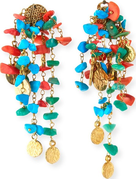 Rosantica Vento Turquoise & Coral Cluster Earrings