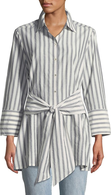 Go Silk Striped Tie-Front Silk-Blend Shirt