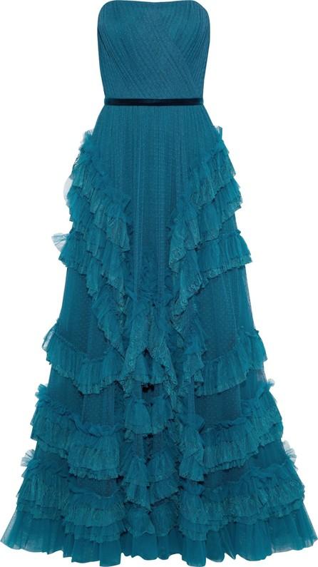 Marchesa Notte Strapless ruffled plissé point d'esprit gown