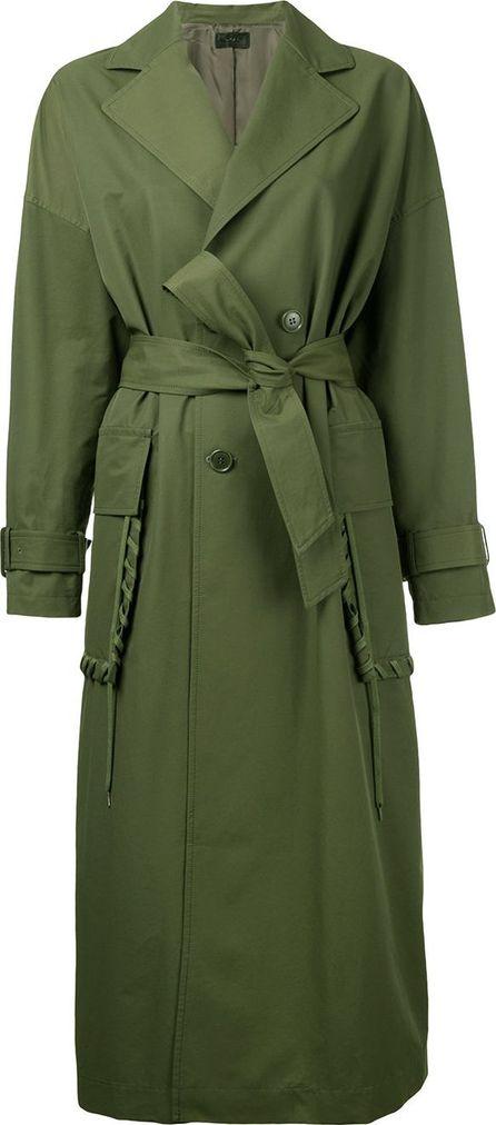 G.V.G.V. lace stitch pocket belted coat