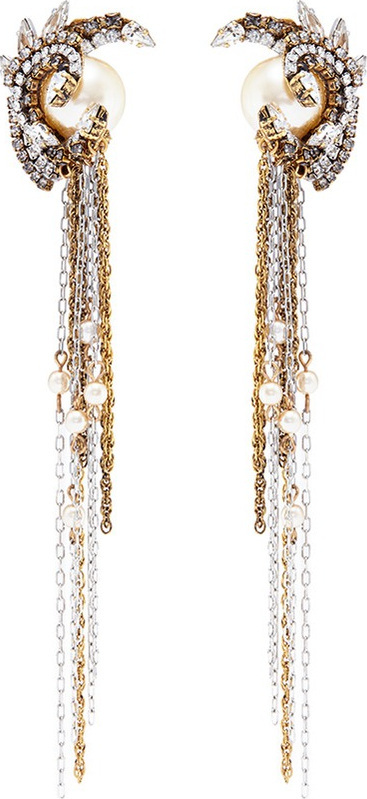 Erickson Beamon 'Delicate Balance' Swarovski crystal swirl stud chain drop earrings