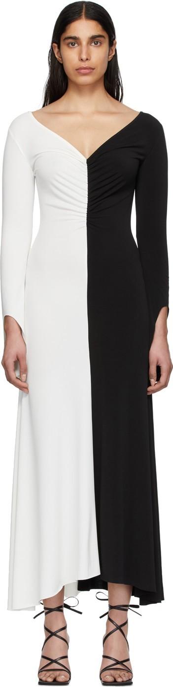 A.W.A.K.E Black & White Fluted Maxi Dress