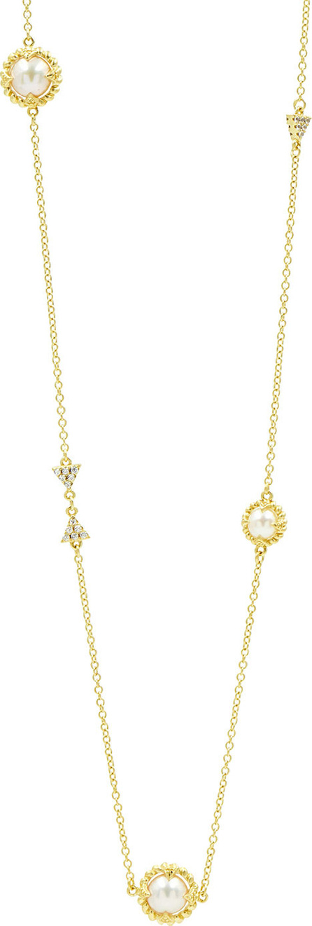 Freida Rothman Textured Long Cubic Zirconia Station Necklace