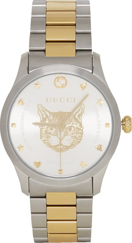 Gucci Gold & Silver Cat Iconic G-Timeless Watch