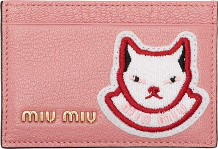 Miu Miu Pink Cat Patch Card Holder