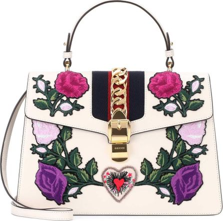 Gucci Sylvie embroidered leather tote