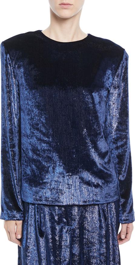 Tibi Tess Long-Sleeve Metallic Velvet Top