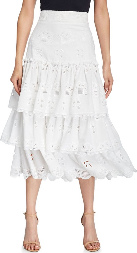 Alexis Faustine Tiered Ruffle Eyelet Midi Skirt