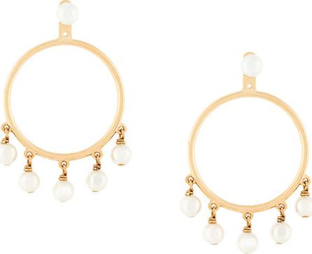 Eshvi Embellished pearl hoop earrings