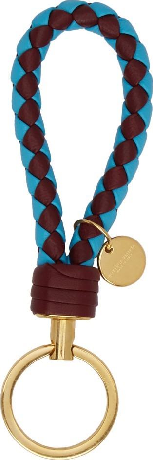 Bottega Veneta Burgundy & Blue Bicolor Intrecciato Keychain