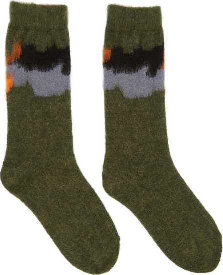 FACETASM Green Intarsia Socks