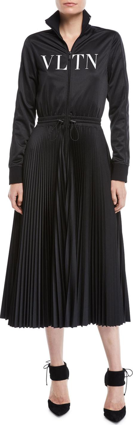 Valentino Long-Sleeve Zip-Front Jersey VLTN-Logo Plisse Bottom Mid-Calf Dress